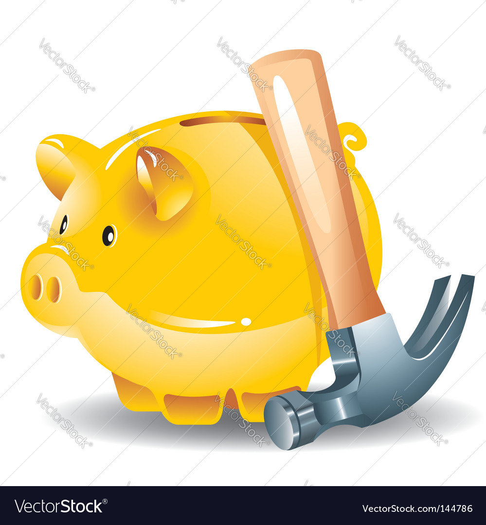Piggy bank and hammer vector | Price: 1 Credit (USD $1)