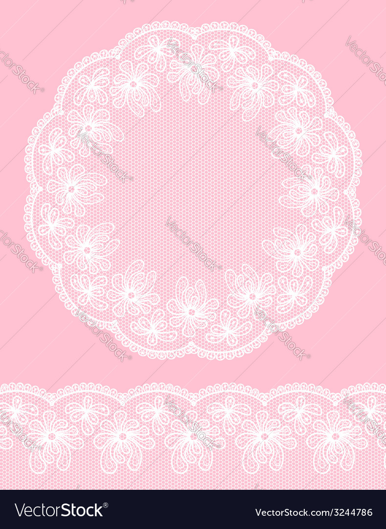 Round lacy frame on pink background vector | Price: 1 Credit (USD $1)