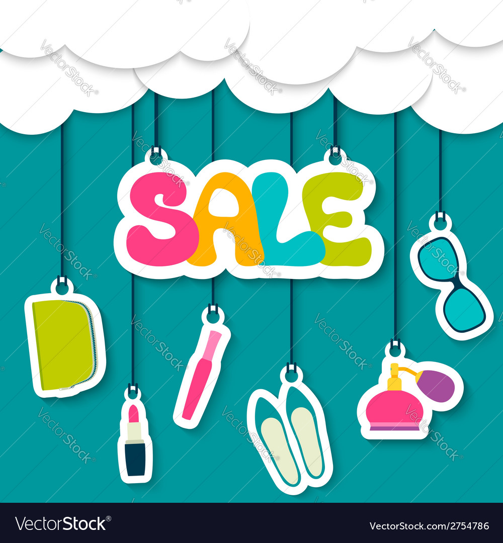 Sale label in the clouds vector | Price: 1 Credit (USD $1)
