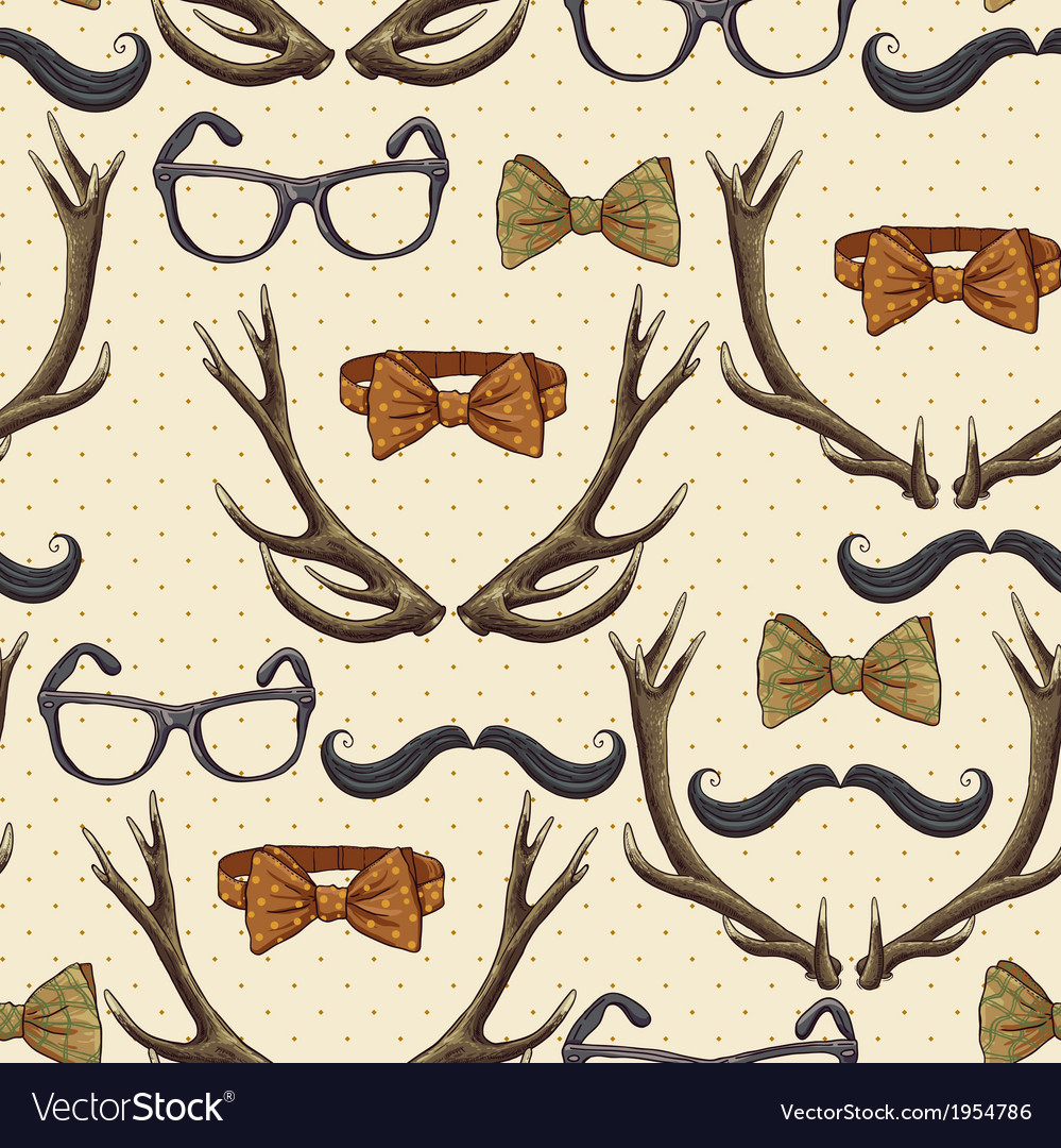 Seamless hipster vintage background with antlers vector | Price: 1 Credit (USD $1)