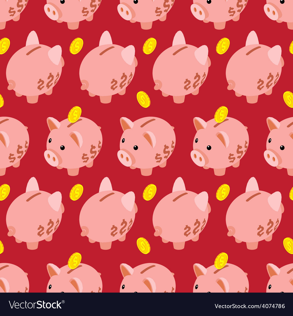 Seamless pattern with piggy bank vector | Price: 1 Credit (USD $1)