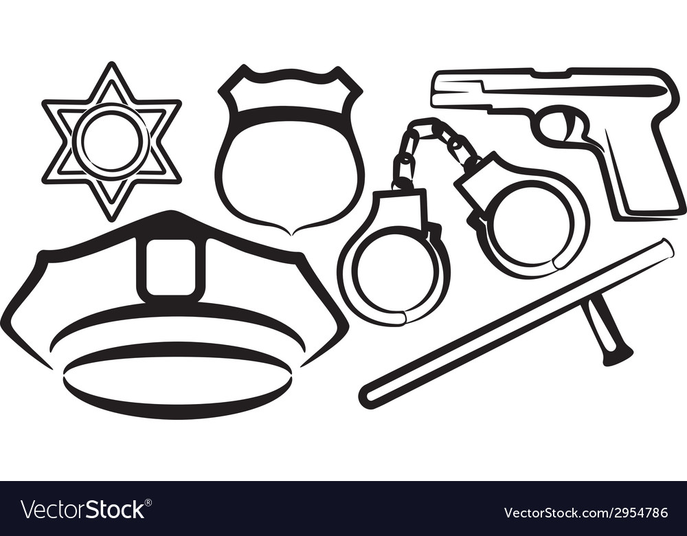 Simple with a set of police items vector | Price: 1 Credit (USD $1)