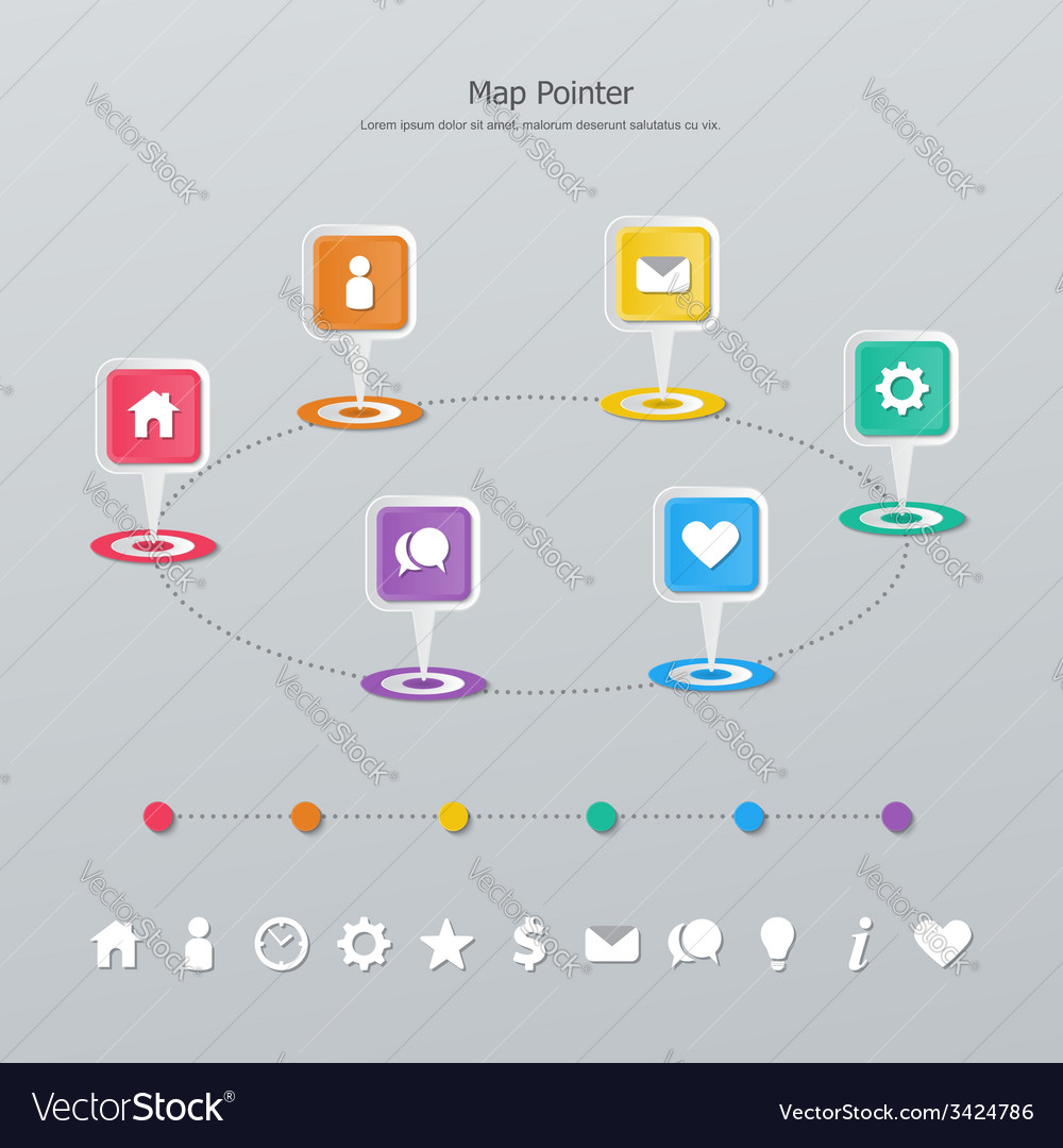 Timeline map pointer vector | Price: 1 Credit (USD $1)