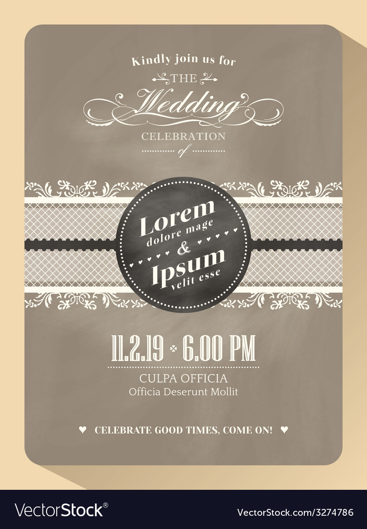 Vintage wedding invitation card template vector | Price: 1 Credit (USD $1)