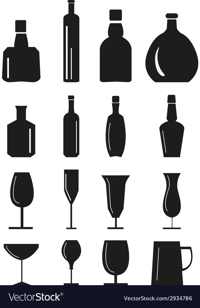 Wine glass and bottle icons set vector | Price: 3 Credit (USD $3)