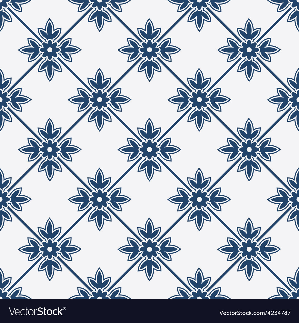 Blue and white delft pattern vector