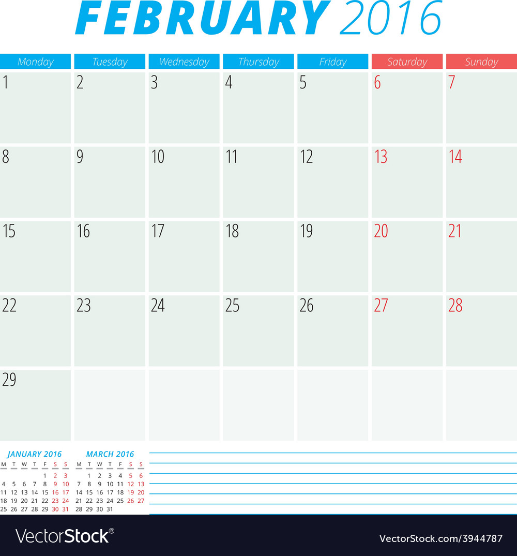 Calendar 2016 flat design template february week vector | Price: 1 Credit (USD $1)