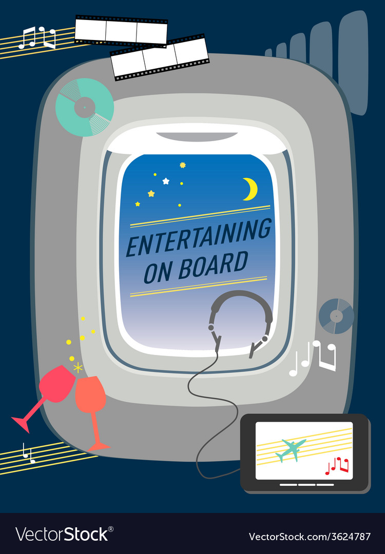 Entertainment on flight airline travel concept vector | Price: 1 Credit (USD $1)