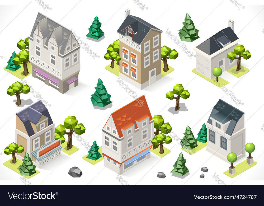 Europe building set tint cartoon isometric 3d vector | Price: 1 Credit (USD $1)