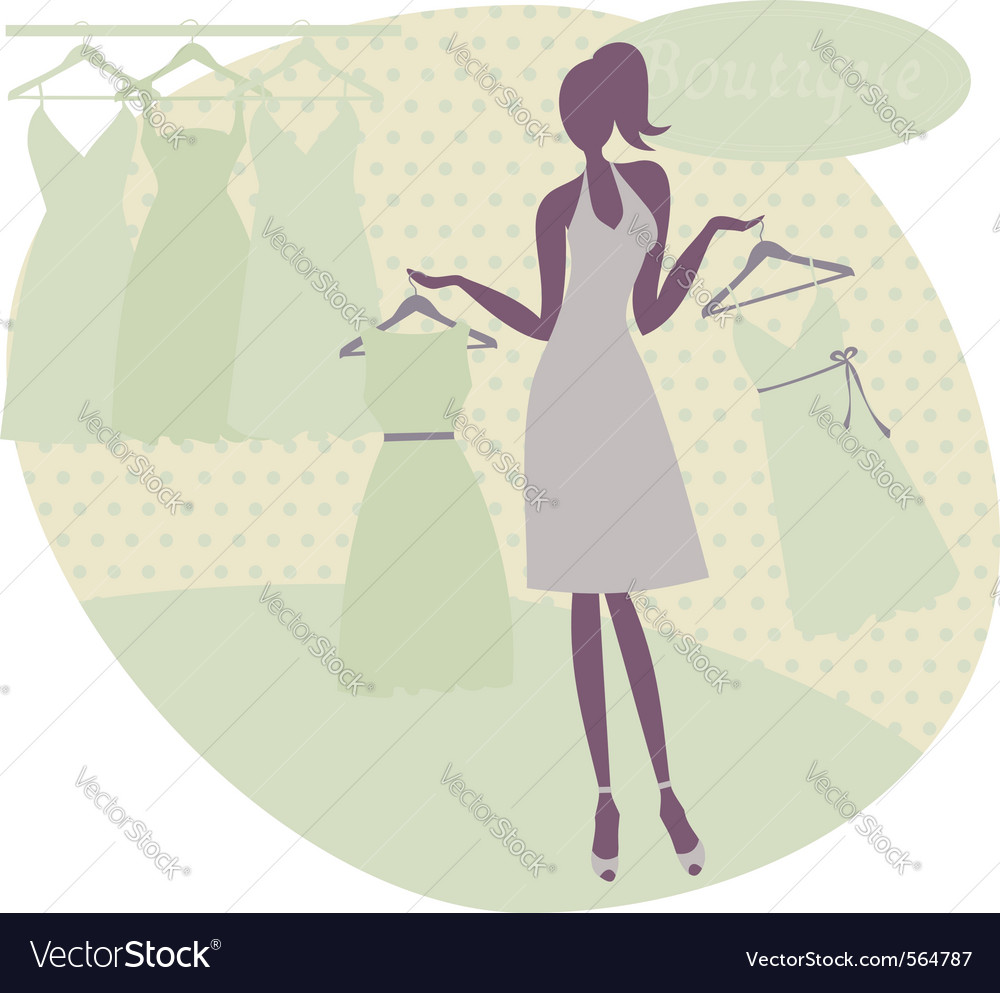 Girl at a boutique vector | Price: 1 Credit (USD $1)