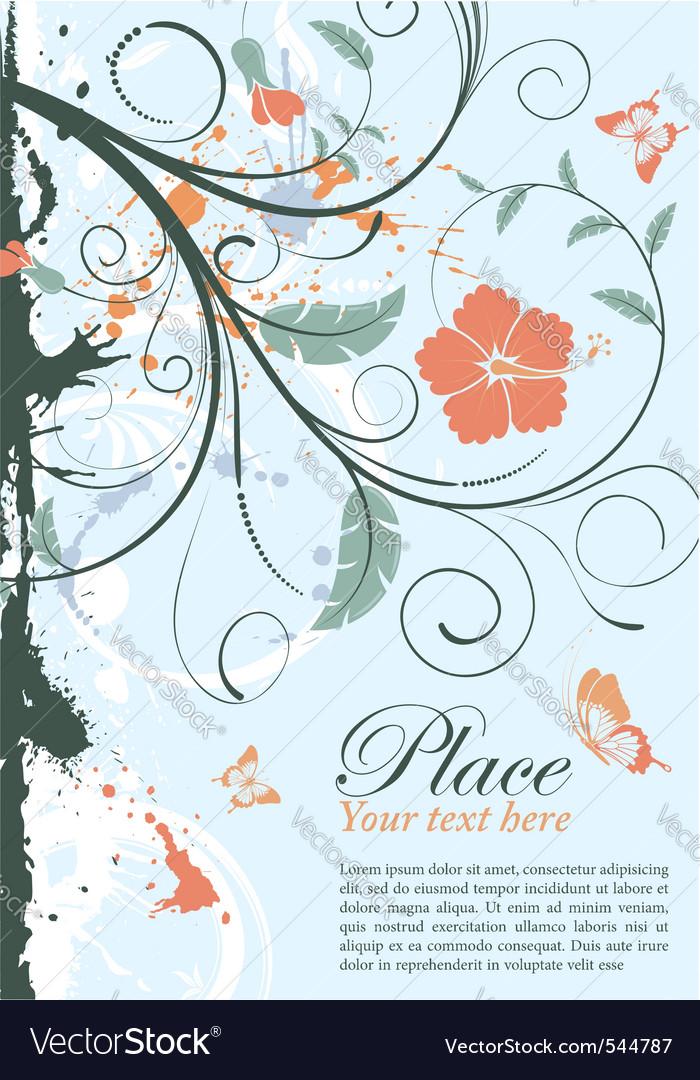 Grunge decorative floral frame vector | Price: 1 Credit (USD $1)