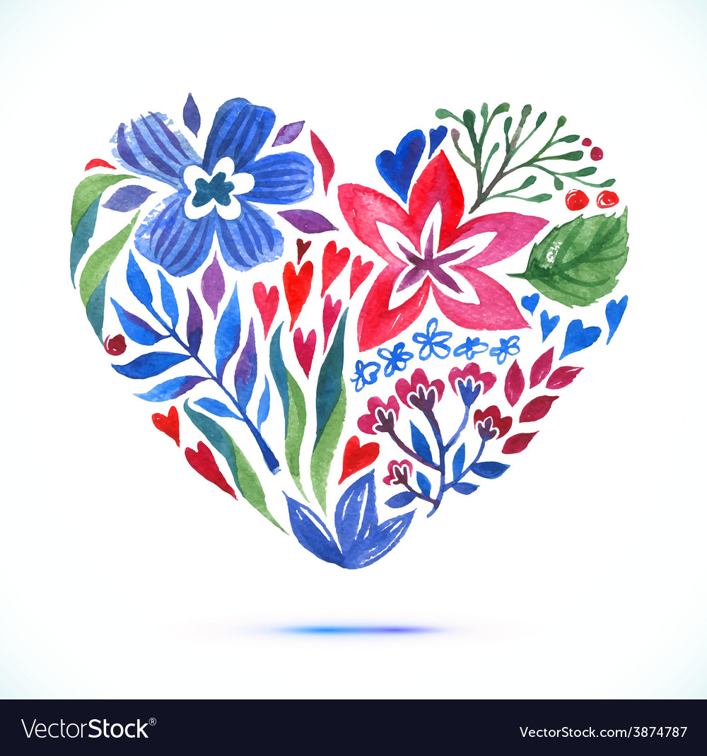 Love card with watercolor floral bouquet valentine vector | Price: 1 Credit (USD $1)