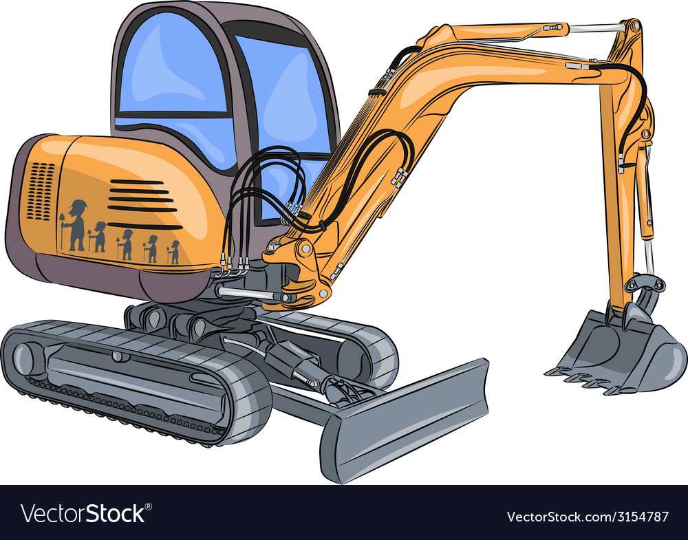 Mini excavator v vector | Price: 1 Credit (USD $1)