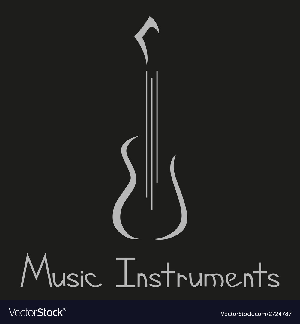 Musical instruments shop logo with guitar vector