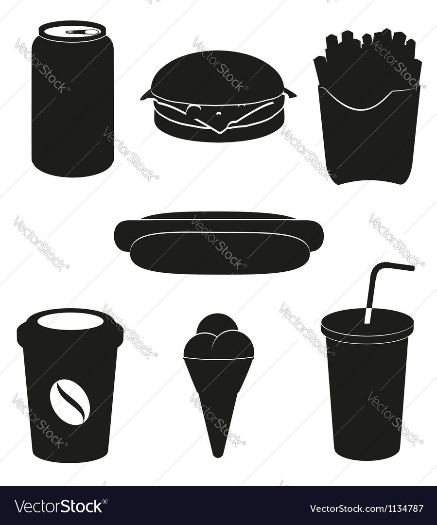 Set icons of fast food black silhouette vector | Price: 1 Credit (USD $1)