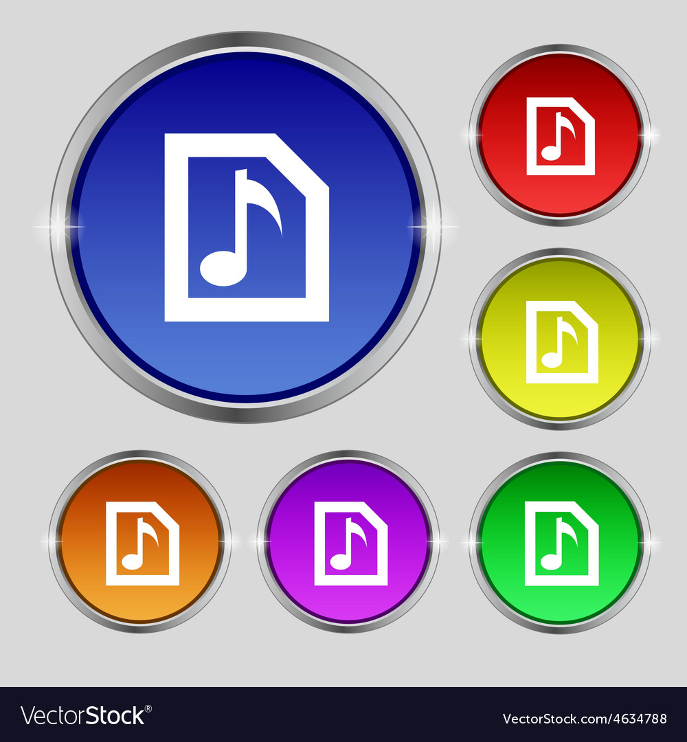 Audio mp3 file icon sign round symbol on bright vector   Price: 1 Credit (USD $1)