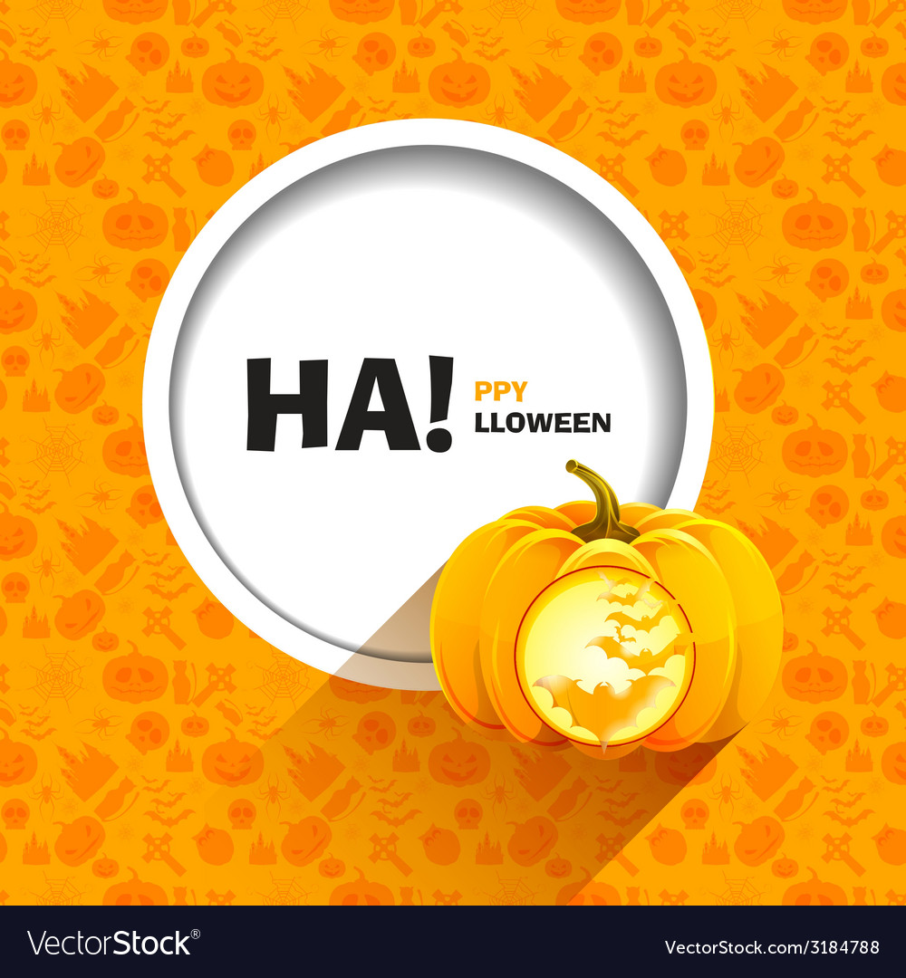 Bats carved on a pumpkin for halloween shining vector | Price: 1 Credit (USD $1)