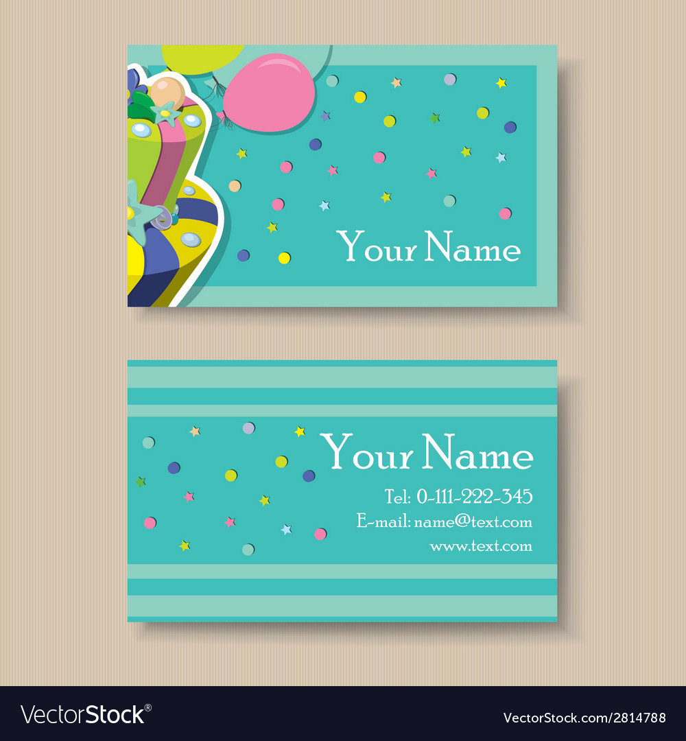 Business card with birthday cake vector | Price: 1 Credit (USD $1)