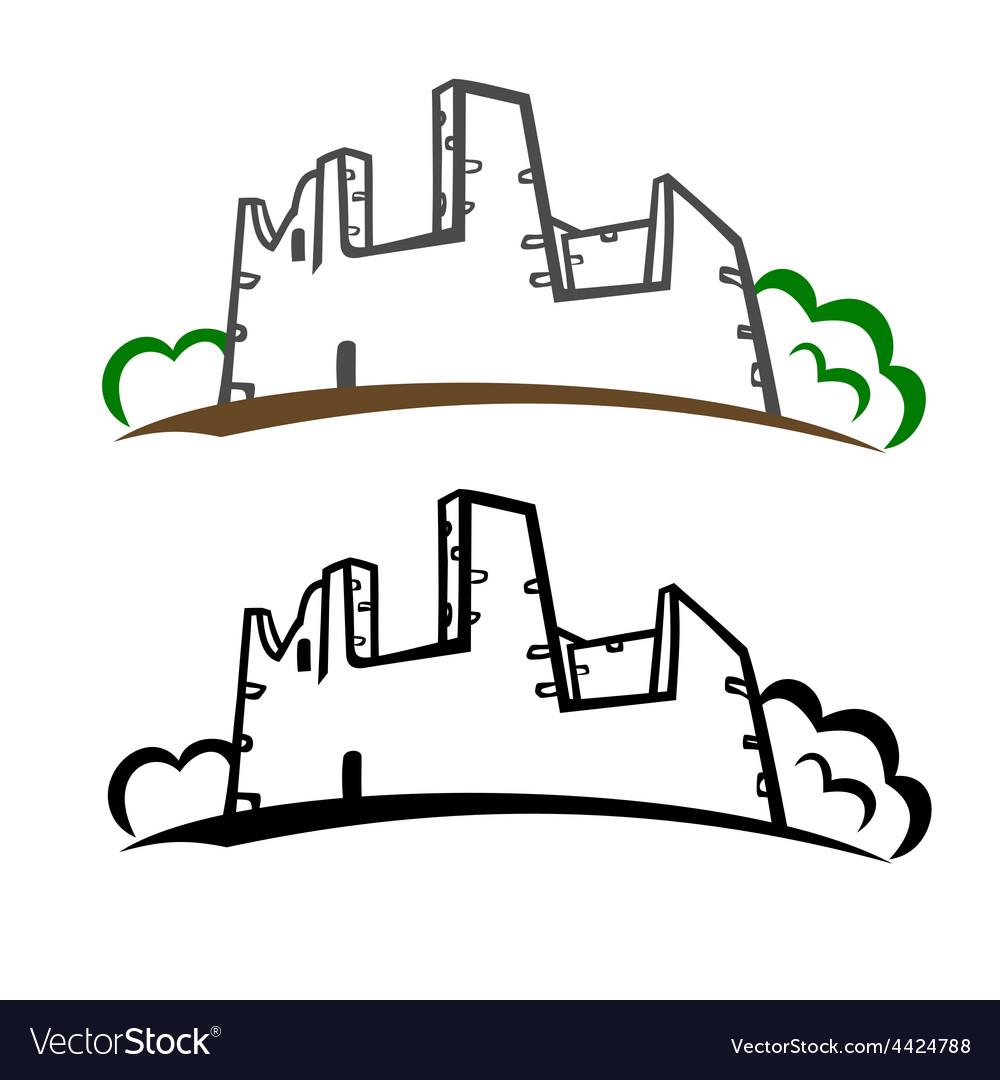 Castle ruins symbol vector   Price: 1 Credit (USD $1)