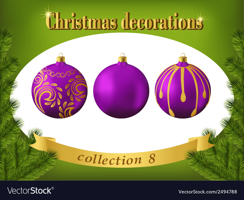 Christmas decorations collection of violet glass vector | Price: 1 Credit (USD $1)