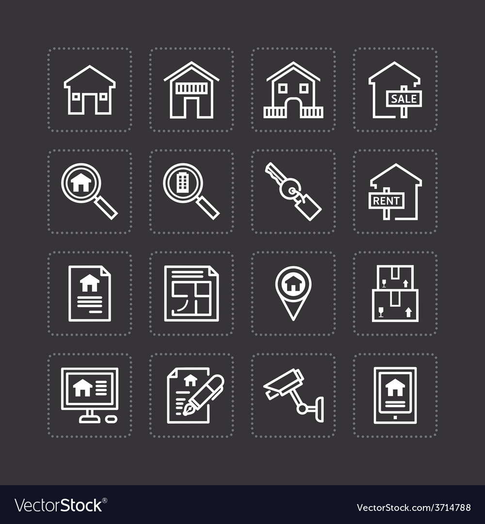 Flat icons set of real estate property outline vector | Price: 1 Credit (USD $1)