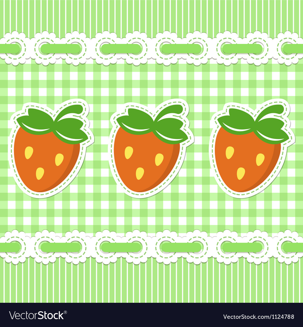 Green checked pattern with strawberry vector | Price: 1 Credit (USD $1)
