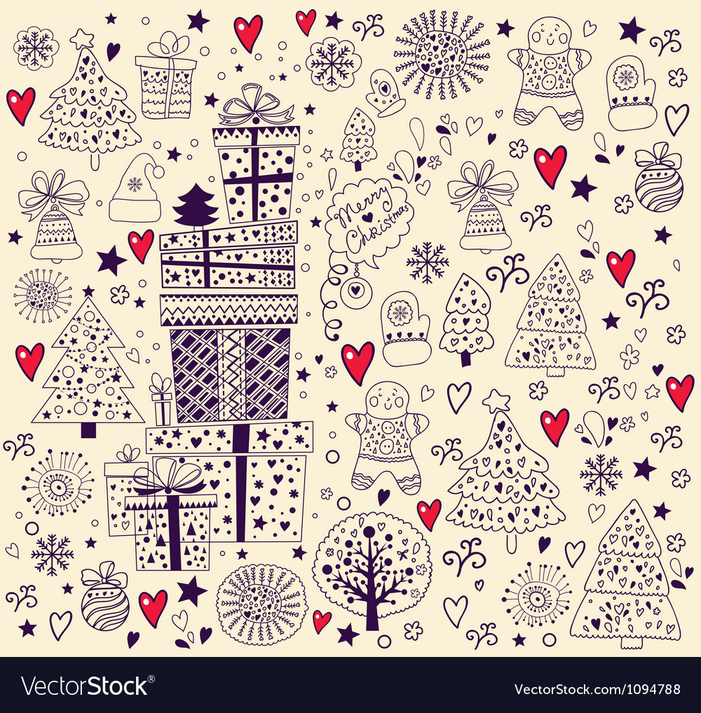 Hand doodle christmas elements vector | Price: 1 Credit (USD $1)