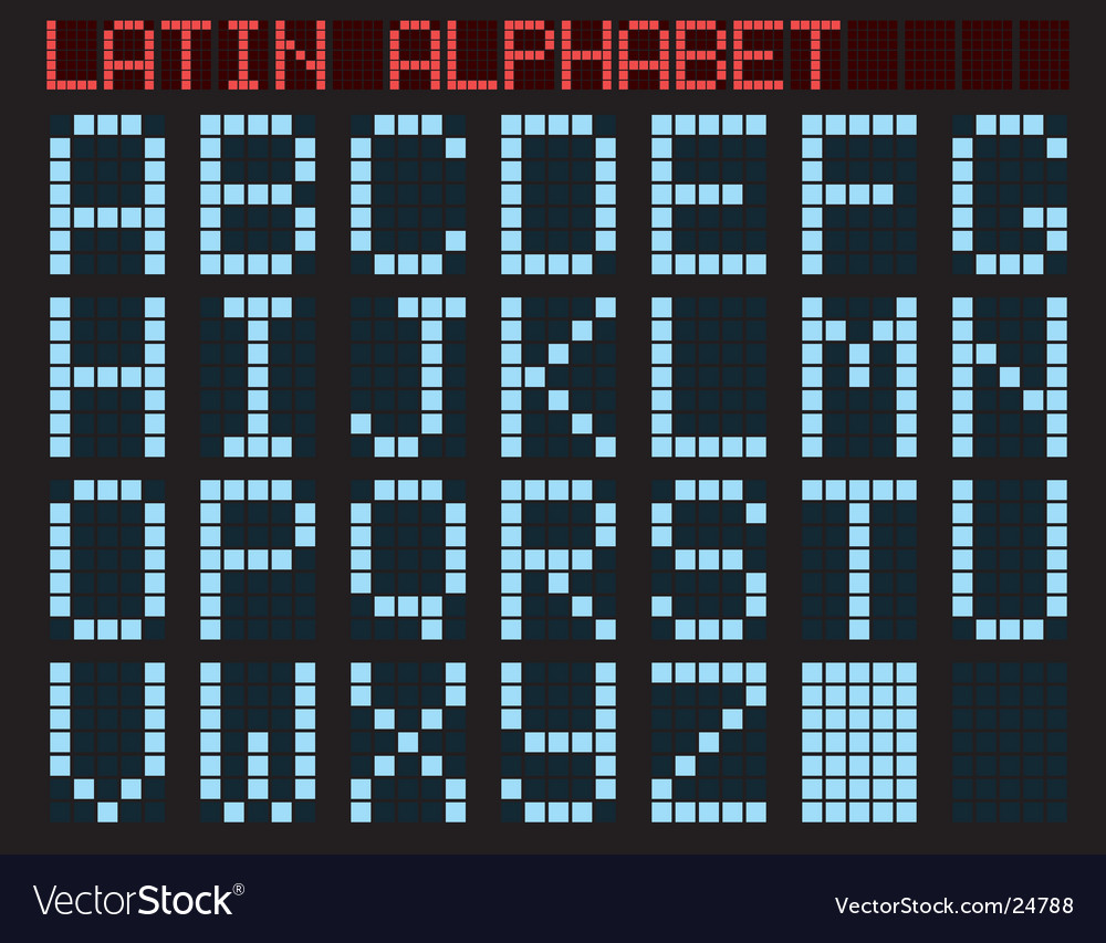 Latin alphabet blue matrix indicator vector | Price: 1 Credit (USD $1)