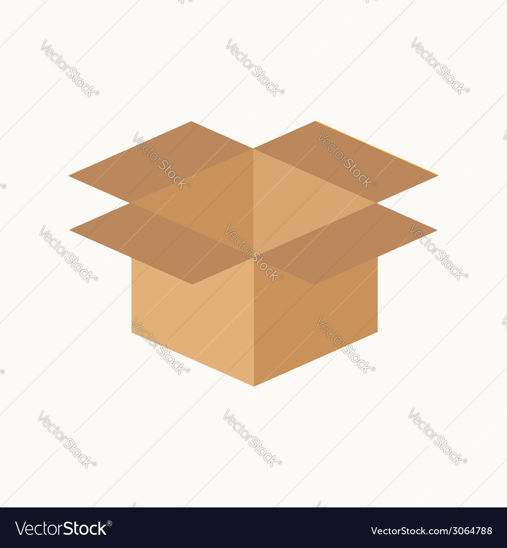 Opened cardboard package box flat design style vector | Price: 1 Credit (USD $1)