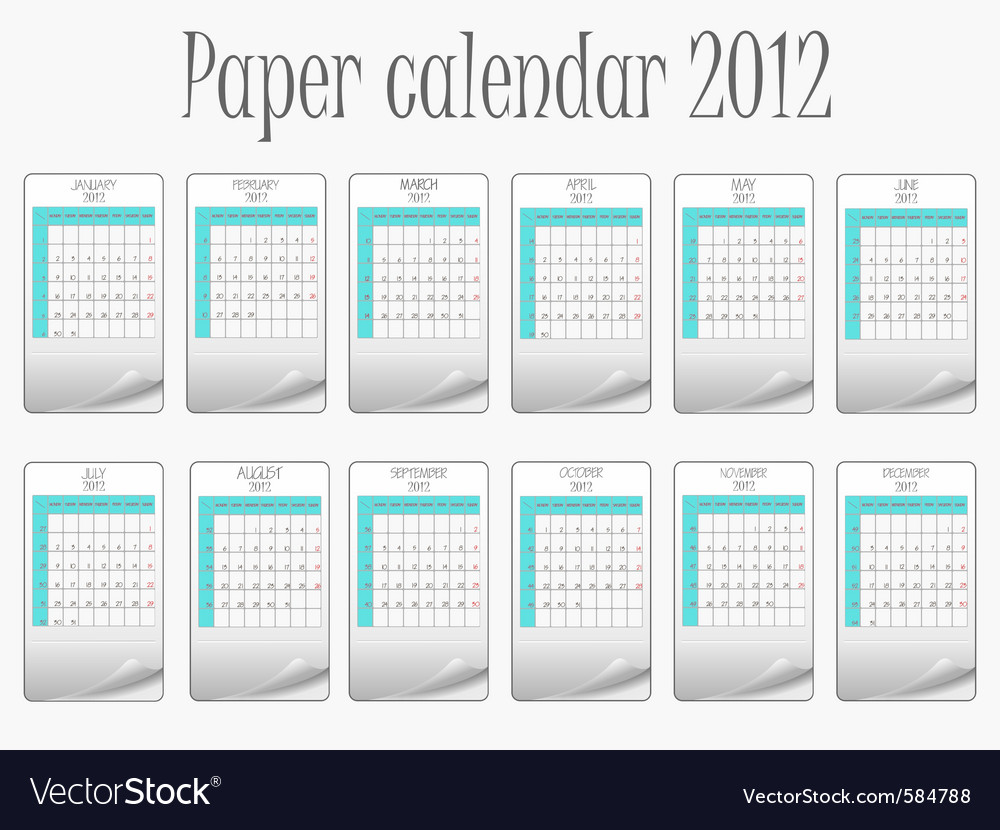 Paper calendar 2012 vector | Price: 1 Credit (USD $1)