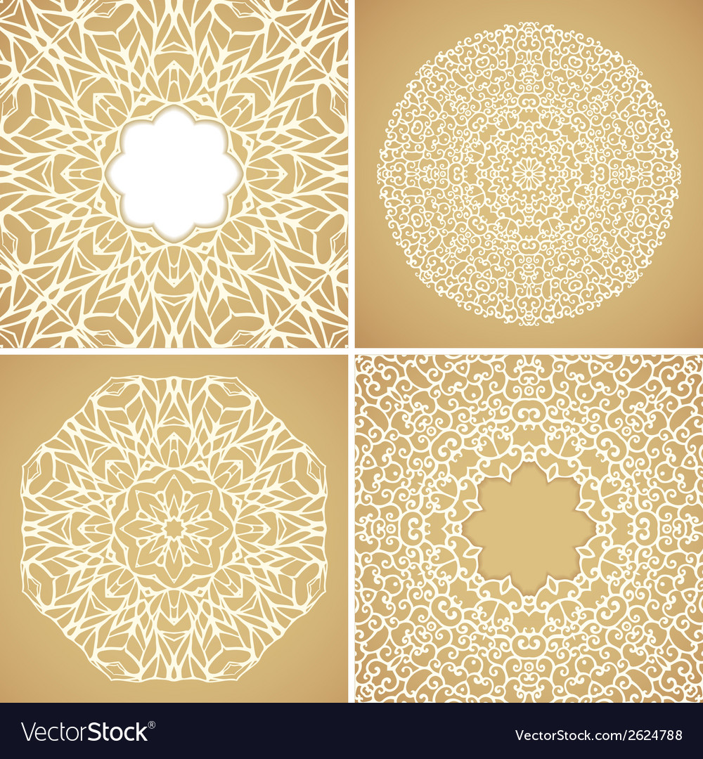 Set of 4 round lace ornamental backgrounds vector | Price: 1 Credit (USD $1)