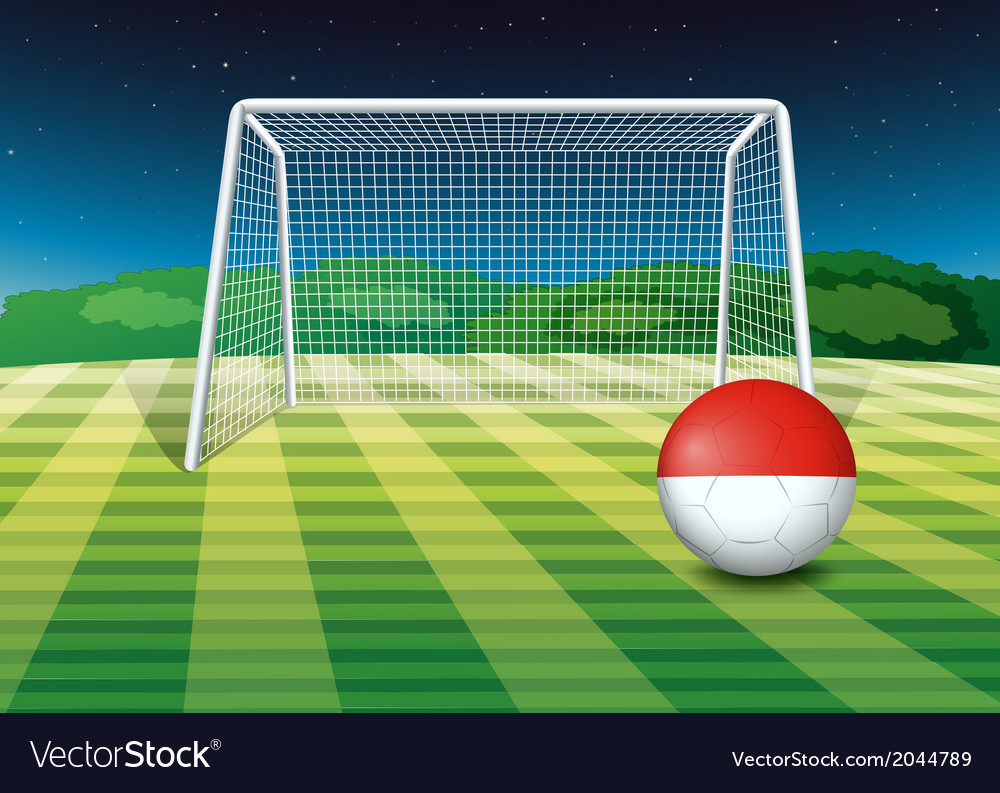 A ball at the soccer field with the flag of monaco vector | Price: 1 Credit (USD $1)