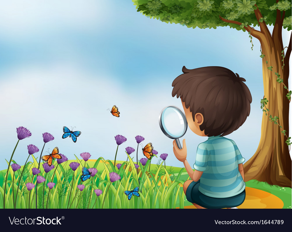 A young boy holding a magnifying lens at the vector | Price: 3 Credit (USD $3)