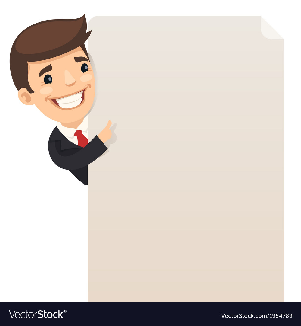 Businessman looking at blank poster vector | Price: 1 Credit (USD $1)