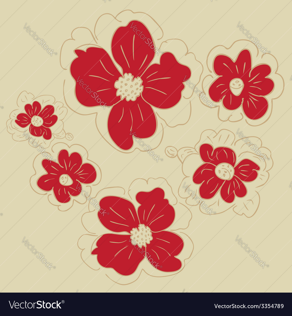 Doodle flowers3 vector | Price: 1 Credit (USD $1)