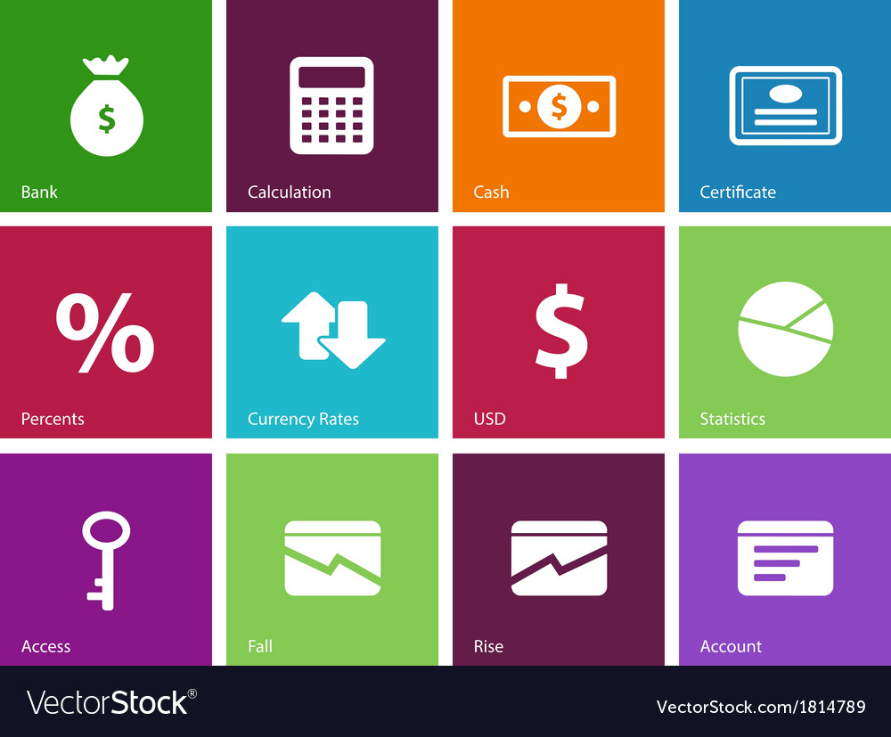 Economy icons on color background vector | Price: 1 Credit (USD $1)