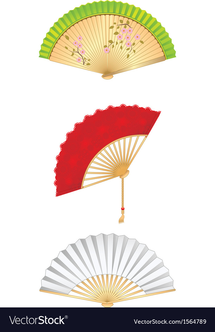 Folding fan set vector | Price: 1 Credit (USD $1)