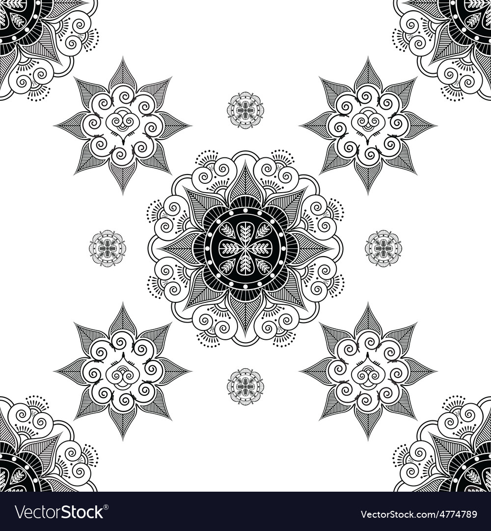 Folk inspired wallpaper in black and white vector | Price: 1 Credit (USD $1)