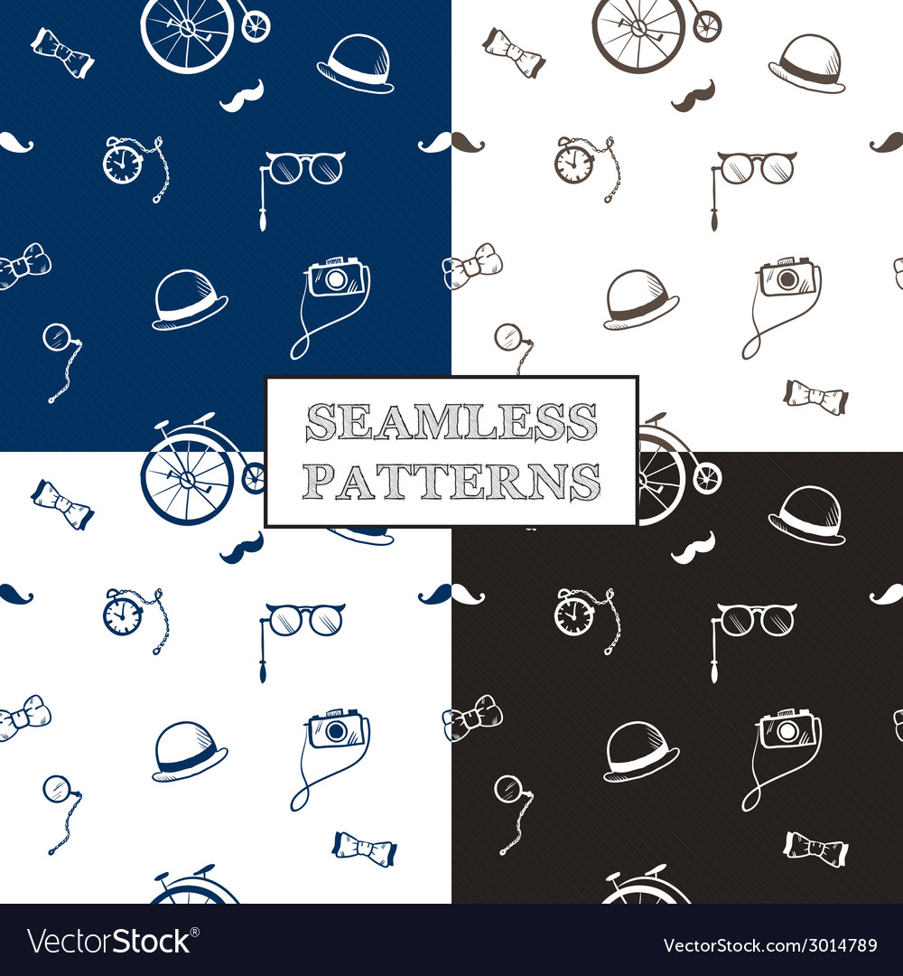 Hand drawn hipster seamless patterns set vector | Price: 1 Credit (USD $1)