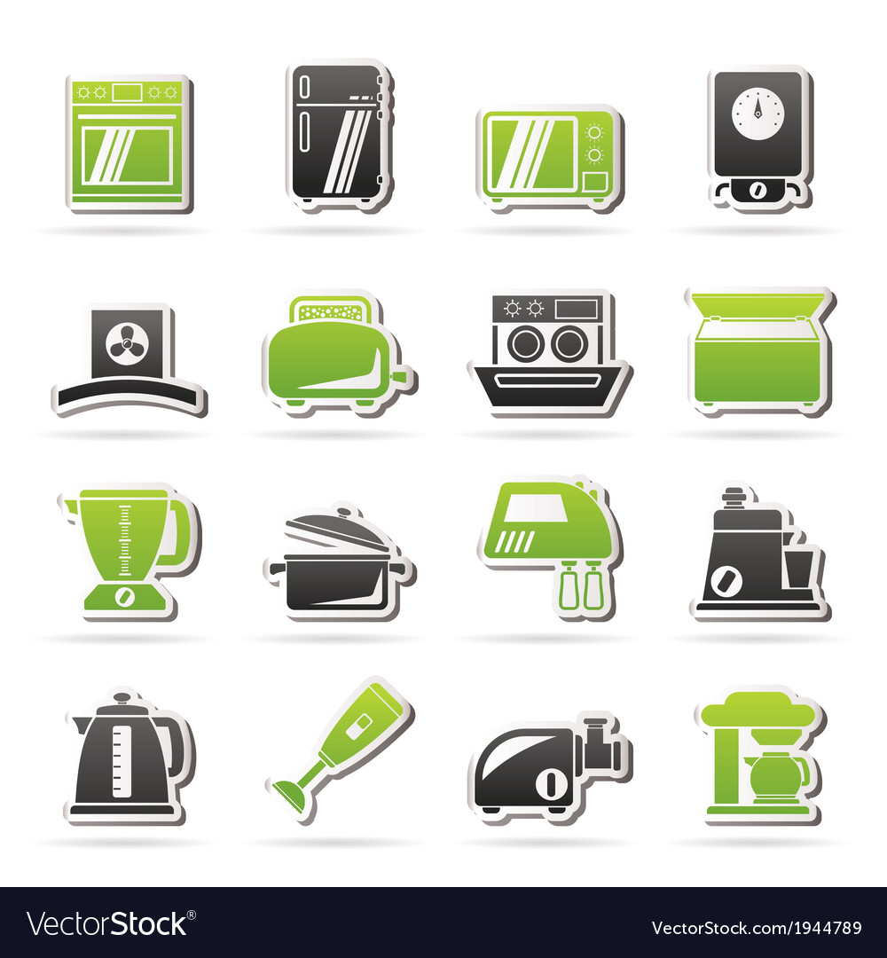 Kitchen appliances and equipment icons vector | Price: 1 Credit (USD $1)