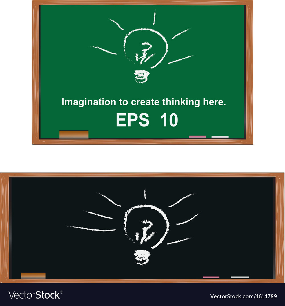 Lamp on blackboardgenerate ideas and imagination vector | Price: 1 Credit (USD $1)