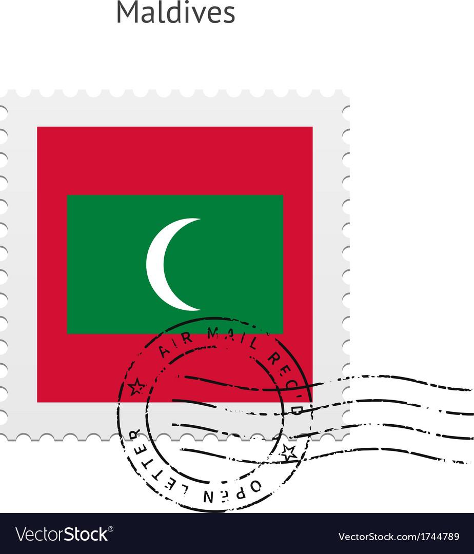 Maldives flag postage stamp vector | Price: 1 Credit (USD $1)