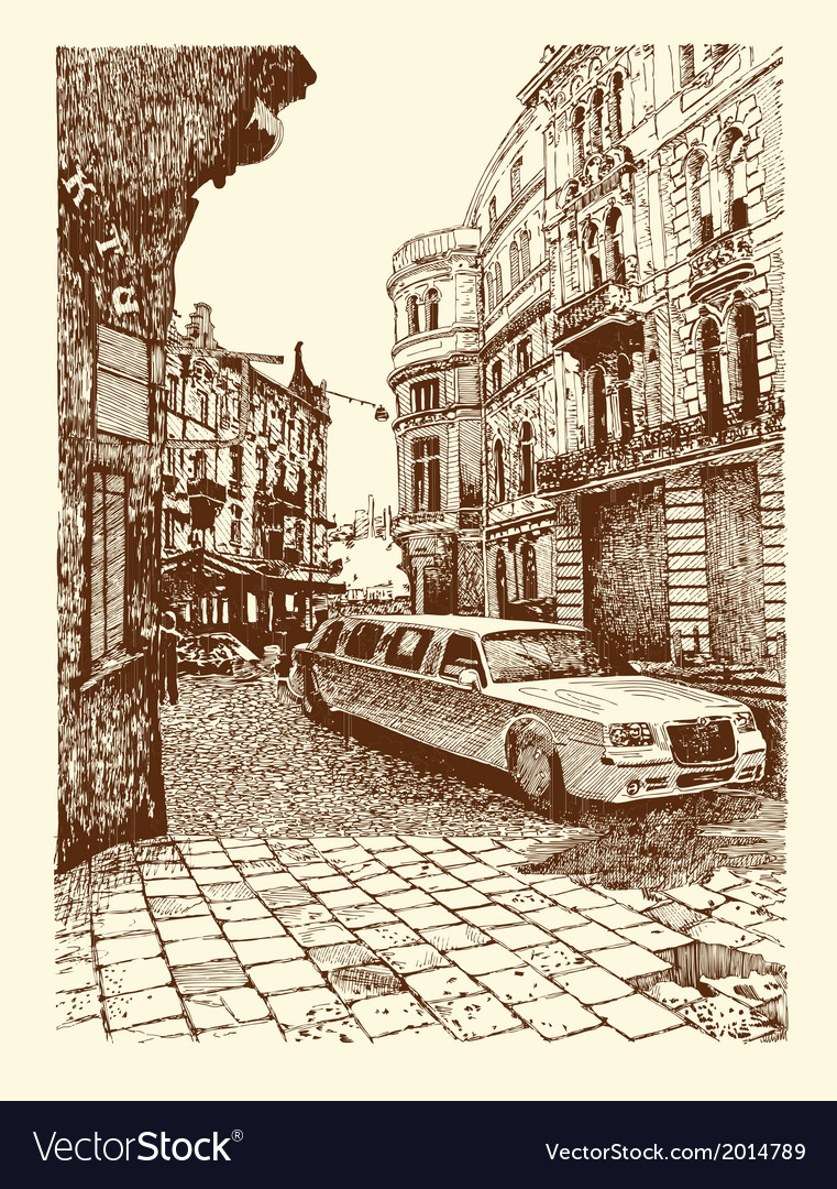 Original drawing of lviv historical building ukrai vector | Price: 1 Credit (USD $1)