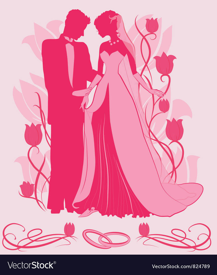 Ornate bride and groom silhouette vector | Price: 1 Credit (USD $1)