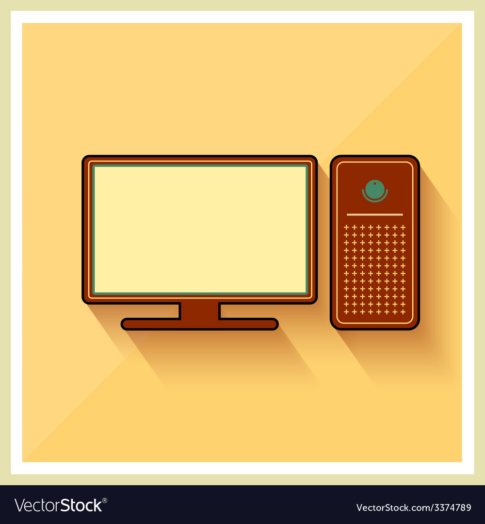Personal computer and monitor flat icon vector | Price: 1 Credit (USD $1)