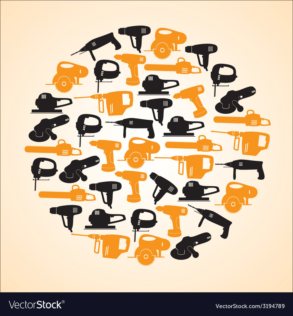 Power tools black and yellow icons in circle eps10 vector | Price: 1 Credit (USD $1)