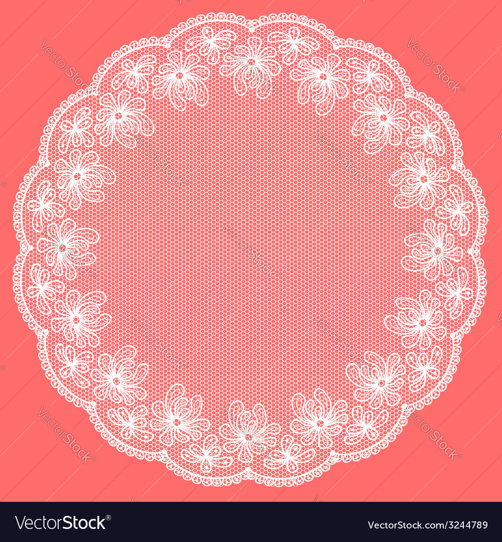 Round white lacy frame on pink background vector | Price: 1 Credit (USD $1)