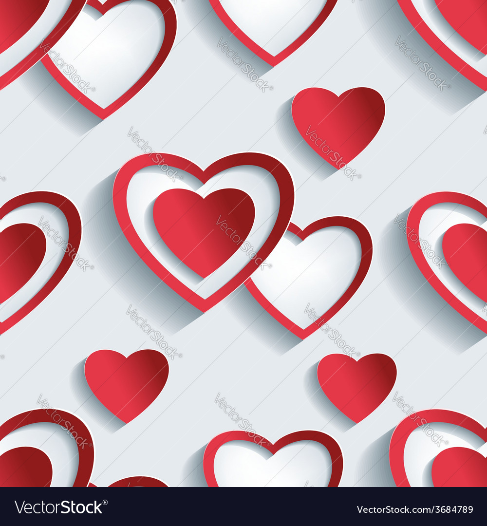 Seamless pattern grey 3d hearts for day valentine vector | Price: 1 Credit (USD $1)