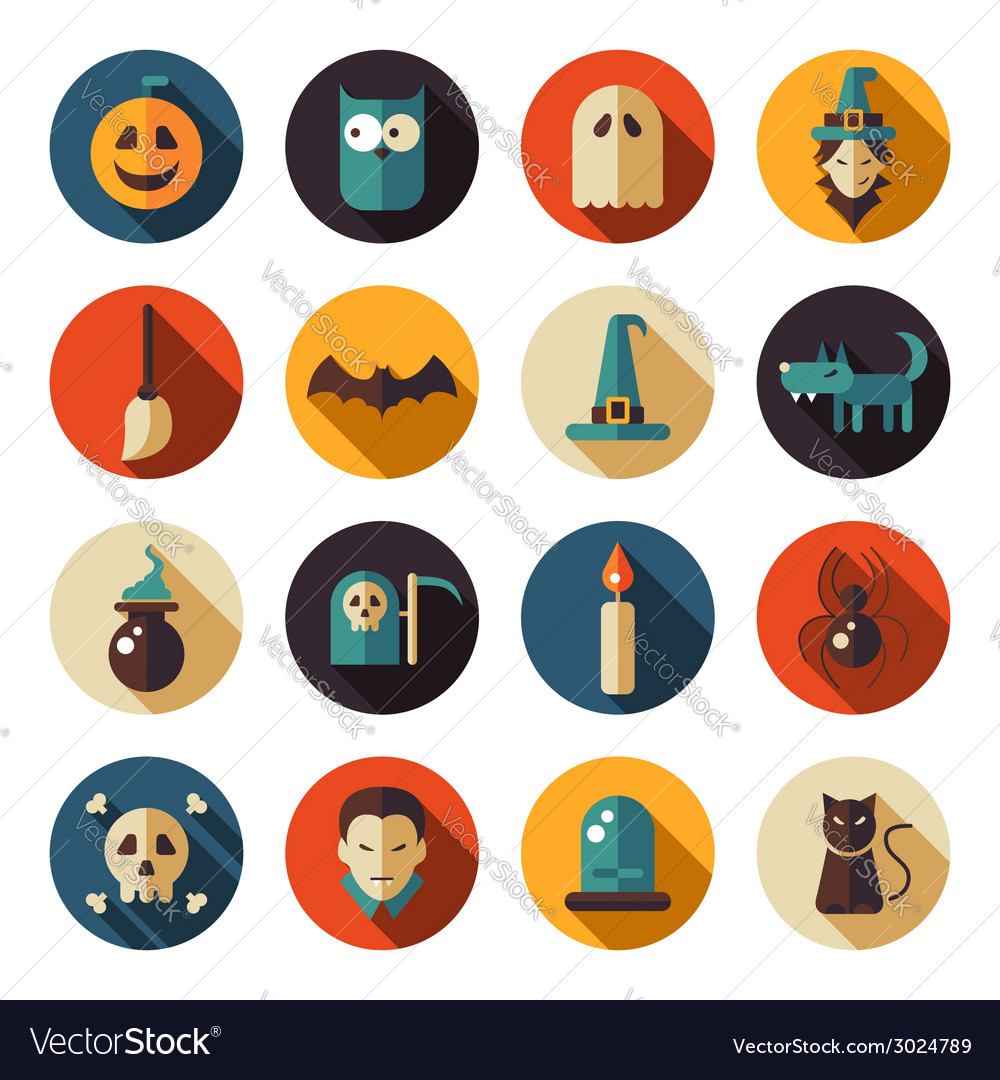 Set of flat design halloween icons vector | Price: 1 Credit (USD $1)