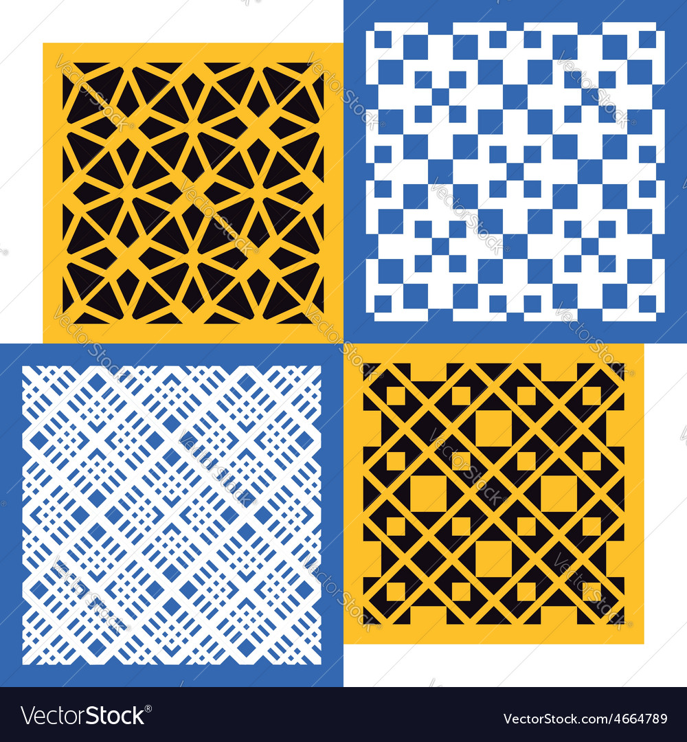 Set of four seamless patterns vintage geometric vector | Price: 1 Credit (USD $1)